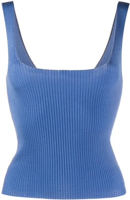 Sandro Ribbed Knit Cropped Vest Top