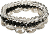Yours Clothing 3 PACK Grey & Black Stretch Bracelet