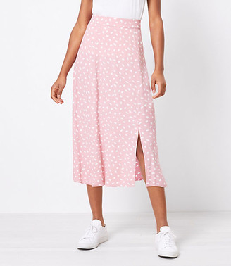 LOFT Brushstroke Slit Midi Skirt