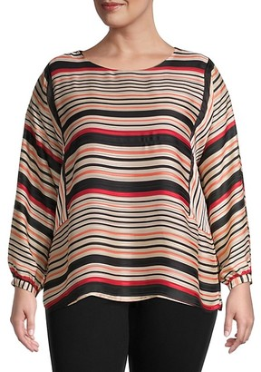 Vince Camuto Plus Striped Long-Sleeve Top