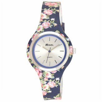 Ravel Women's Floral Quartz Watch with Patterned Silicone Strap - Blue