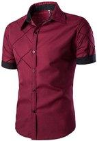 SUPPION Men's Slim Fit Contrast Short Sleeve Casual Dress Shirts (M, )