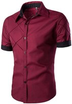 SUPPION Men's Slim Fit Contrast Short Sleeve Casual Dress Shirts (XXXL, )