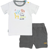 Kushies White & Gray On Safari Tee & Shorts - Infant