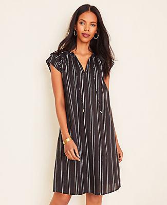 Ann Taylor Petite Metallic Stripe Tie Neck Shift Dress