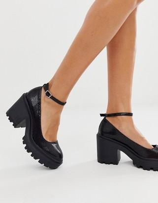 ASOS DESIGN Summit chunky heels in black snake