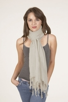 LoveQuotes Scarves Love Quotes Linen Knotted Fringe Scarf in Chardonnay