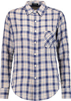 R 13 Check cotton and wool-blend shirt