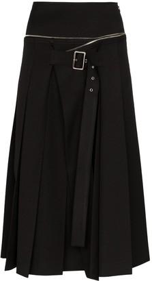 we11done Unbalanced Box Pleat Wool Skirt