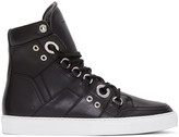 Diesel Black Gold Black Leather High-Top Sneakers