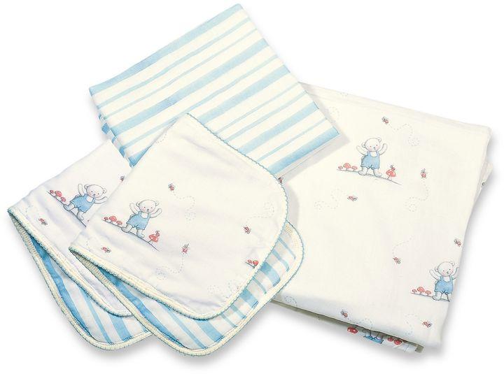 Bunnies by the Bay Cuddle Me Bear 4-Piece Blanket & Burp Set