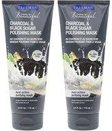 Freeman Feeling Beautiful Charcoal & Black Sugar Gel Mask and Scrub, 6-Ounce, 2 Count