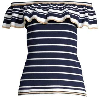 Lilly Pulitzer Perelle Striped Off-The-Shoulder Ruffle Sweater