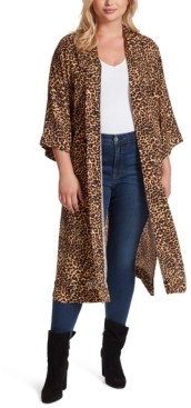 Jessica Simpson Trendy Plus Size Mixed-Print Open-Front Duster