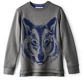 Classic Boys Husky Novelty Crewneck Sweatshirt-Stone Gray