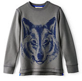 Lands' End Boys Husky Novelty Crewneck Sweatshirt-Stone Gray
