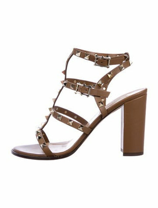Valentino Leather Studded Accents Gladiator Sandals Brown