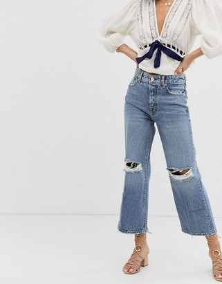 Free People Ranger slit knee cropped wide leg jeans