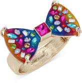 Betsey Johnson Gold-Tone Multi-Stone Rainbow Hinged Bangle Bracelet