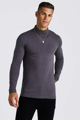 boohoo Muscle Fit Long Sleeve Roll Neck T-Shirt