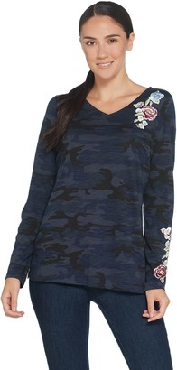 Belle By Kim Gravel Embroidered Floral Camo Long Sleeve Top