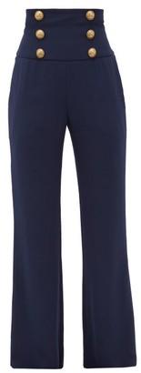 Balmain Buttoned Crepe Wide-leg Trousers - Navy