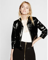 Express black crackle patent moto jacket