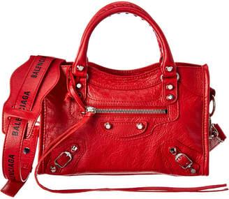 Balenciaga Classic City Logo Strap Mini Leather Shoulder Bag