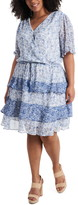 1.STATE Tiered Ruffle Calico Tie Waist Dress (Plus Size)