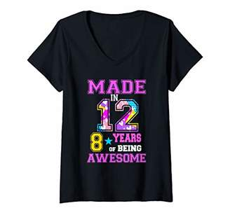 Womens Made In 12 8 Years Of Being Awesome Birthday Party 2020 V-Neck T-Shirt