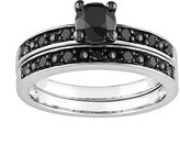 Black Diamond Round-Cut Engagement Ring Set in 10k White Gold (1 ct. T.W.)