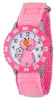 Sesame Street Girls' Stainless Steel Time Teacher Watch - Pink