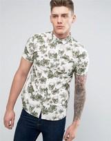 Brave Soul All Over Skull And Flower Print Short Sleeve Shirt