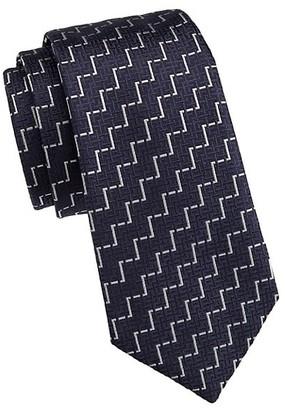 Emporio Armani Zig-Zag Print Silk Tie