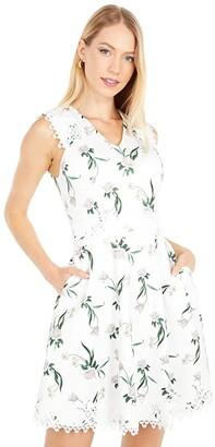 Ted Baker V-Neck Skater Dress (White) Women's Dress