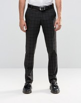 Selected Homme Slim Checked Trousers With Stretch And Turn Up