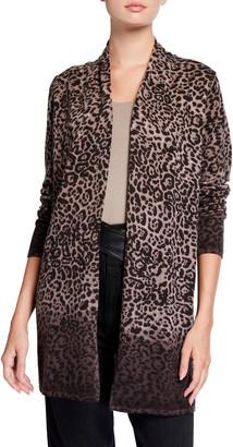 Neiman Marcus Leopard Print Cashmere Duster Cardigan
