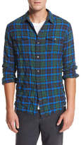 Vince Frayed-Hem Plaid Western Shirt, Green/Blue