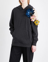 Christopher Kane Sequinned floral-appliqué cotton-jersey hoody