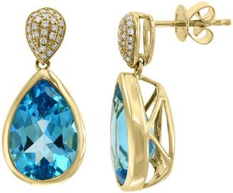 Effy Fine Jewelry 14K 9.20 Ct. Tw. Diamond & Blue Topaz Earrings