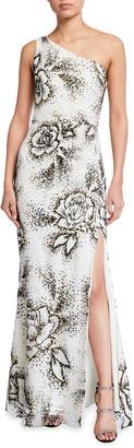 Marchesa One-Shoulder Flocked Glitter Tulle Column Gown