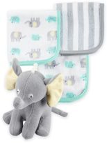 Carter's Elephant Bath Toy and 3-Pack Washcloth Set