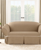 Sure Fit Cotton Canvas One Piece T-Cushion Loveseat Slipcover