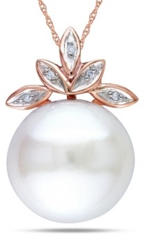 """Macy's Freshwater Cultured Pearl (11.5-12mm) and Diamond Accent Leaf 17"""" Necklace in 10k Rose Gold"""