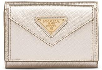 Prada metallic snap wallet