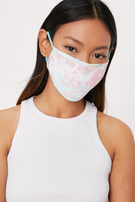 Nasty Gal Womens Watch Your Mouth Tie Dye Fashion Face Mask - Pink - ONESIZE, Pink