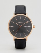 Paul Smith P10081 Track Leather Watch In Black 42mm