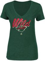 Majestic Women's Minnesota Wild Match Penalty Glitter T-Shirt