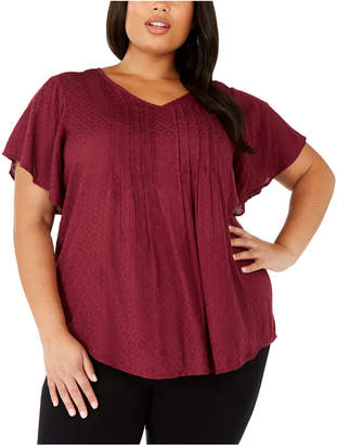 Style&Co. Style & Co Plus Size Pintucked Flutter-Sleeve Top