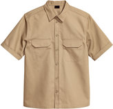 H&M Short-sleeved Twill Shirt - Beige - Men